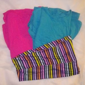 2 Shirts With Striped Leggings